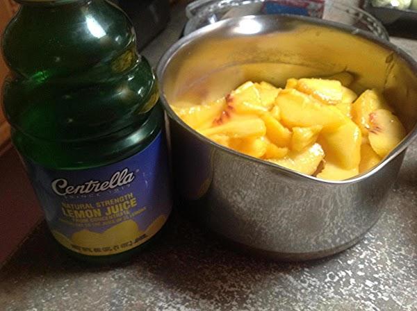 Add peaches to a medium size sauce pan.