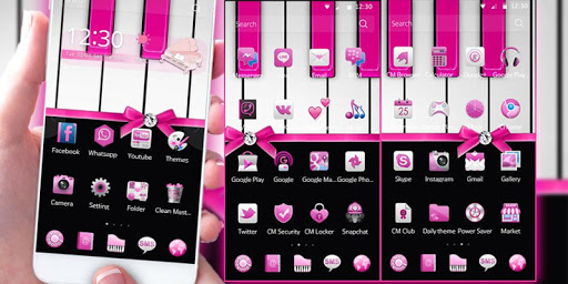 Pink Piano Theme Pink Tiles Screenshot