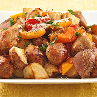 Balsamic Roasted Sausage, Sweet Peppers and Potatoes.