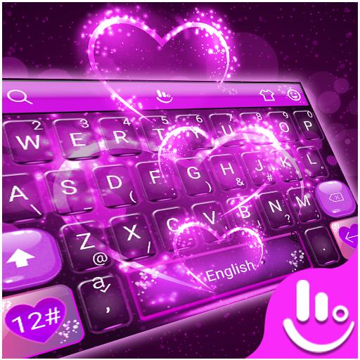 app insights 3d neon purple sparkling love heart keyboard theme