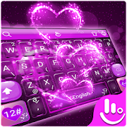 App 3D Neon Purple Sparkling Love Heart Keyboard Theme APK for Windows Phone