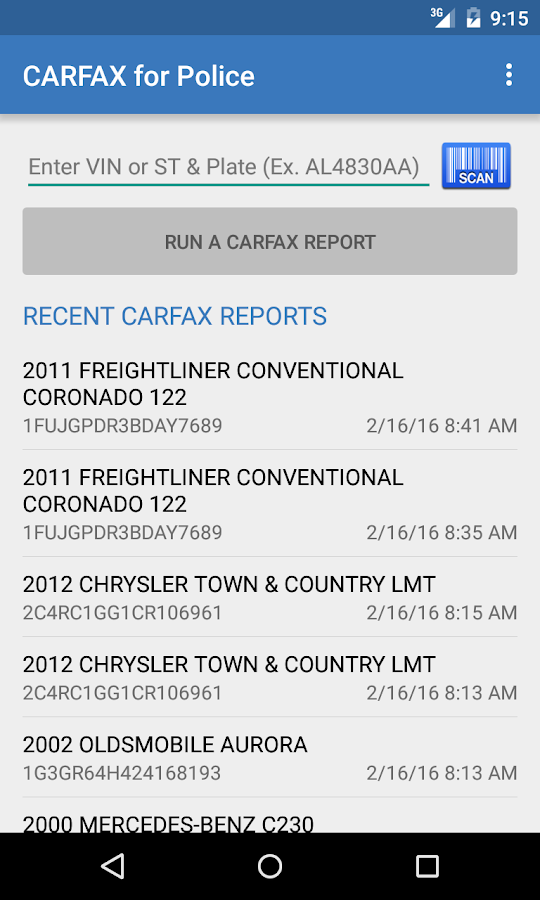 carfax for police android apps on google play. Black Bedroom Furniture Sets. Home Design Ideas