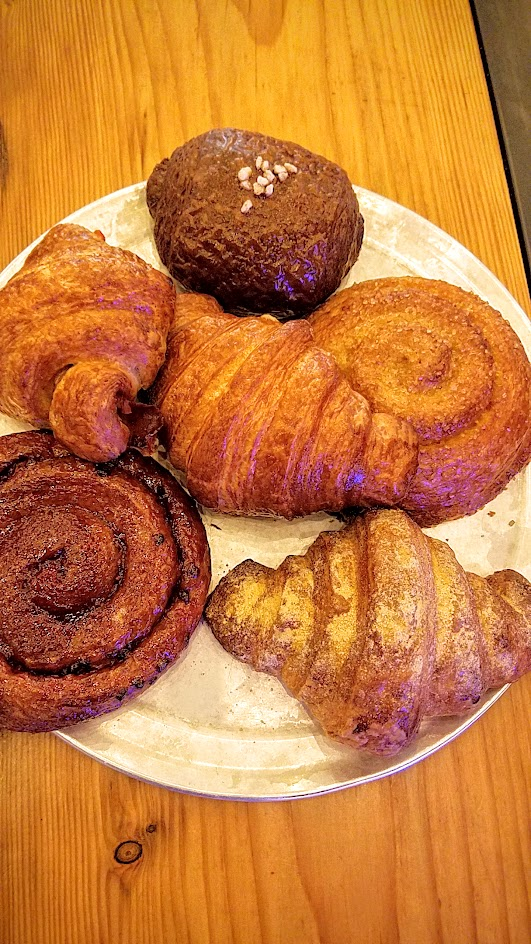 Keep it simple but still so amazing at brunch at Pine Street Market with the Artisan Croissants from Trifecta Annex from the legendary Ken Forkish of Ken's Artisan Pizza and Ken's Bakery in Portland ranging from Maple Sugar, Raspberry, Double Chocolate, Honey-Rye-Ham croissants