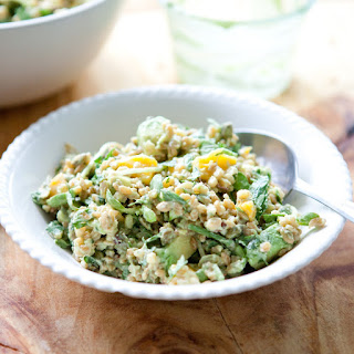Spring Grain Salad with Mango, Sprouts and Creamy Avocado Dressing