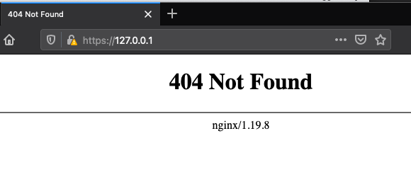 Screenshot of White Oak Security's pentesters dockerizing a test environment a 404 page for Nginx/1.19.8