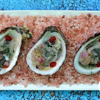 Raw Oysters with Champagne and Shallot Granita.