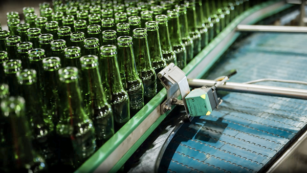 3D printed parts on the production line in a bottle manufacturing facility