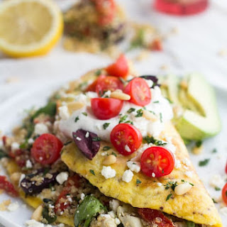 Greek Quinoa Dinner Omelets with Feta and Tzatziki..