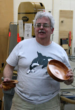 Photo: Jeff Tate talks about his adventures in turning these two bowls.