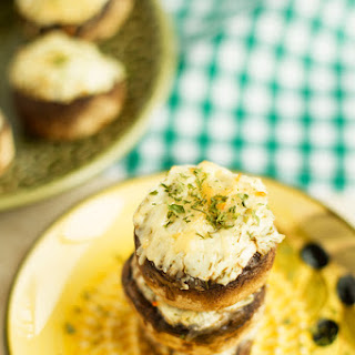 Dill, Parmesan and Cream Cheese Stuffed Mushrooms.