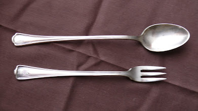 Photo: Silver service shrimp fork and ice-tea spood with PA logo