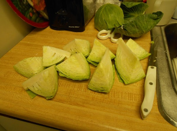 Cut cabbage into wedges and cook uncovered until tender (about 25 minutes).  Add...