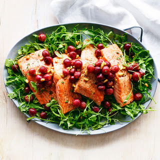 Salmon with Roasted Grapes and Arugula Salad
