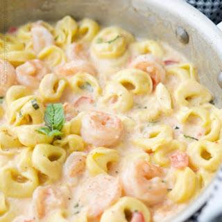 Cheesy Skillet Shrimp & Tortellini.