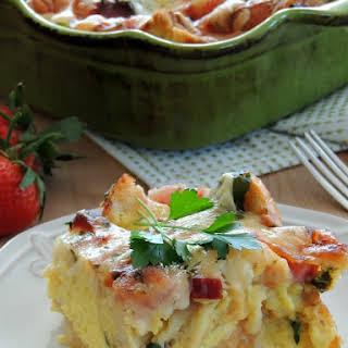 Cheesy Ham & Spinach Overnight Breakfast Casserole.