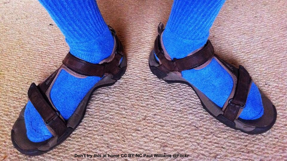 Shockingly blue socks with sandals.