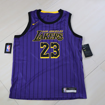 Nike LA Lakers Lebron James City Jersey US Youth Size湖人勒邦占士美版大童城市球衣