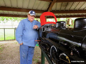 Photo: Pete Greene getting his Atlantic ready to run for public run day in 7 days.  Pete is tire and yawning, tired of replacing his whistle valve only to have it not work and getting a ball valve installed in time of public run day.     HALS Work Day 2015-0411 RPW