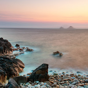Porth Nanven by Chris Sargent - Landscapes Waterscapes ( sunset, cornwall )