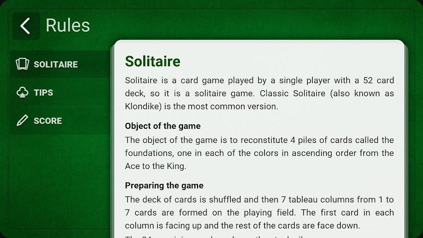 Solitaire (Klondike) + Screenshot