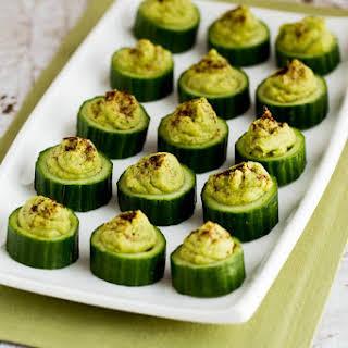 Easy Cucumber Guacamole Appetizer Bites.