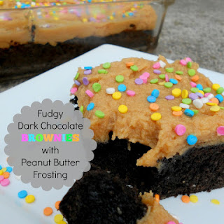 Fudgy Dark Chocolate Brownies with Peanut Butter Frosting