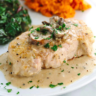 Smothered Pork Chops with Mushroom Gravy.