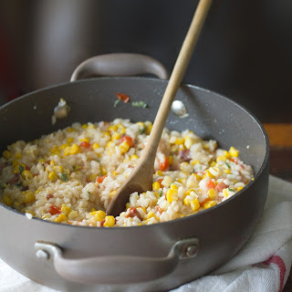 Red Pepper, Corn and Bacon Risotto.