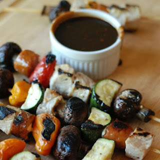 Chicken Kabobs with Balsamic BBQ Sauce.