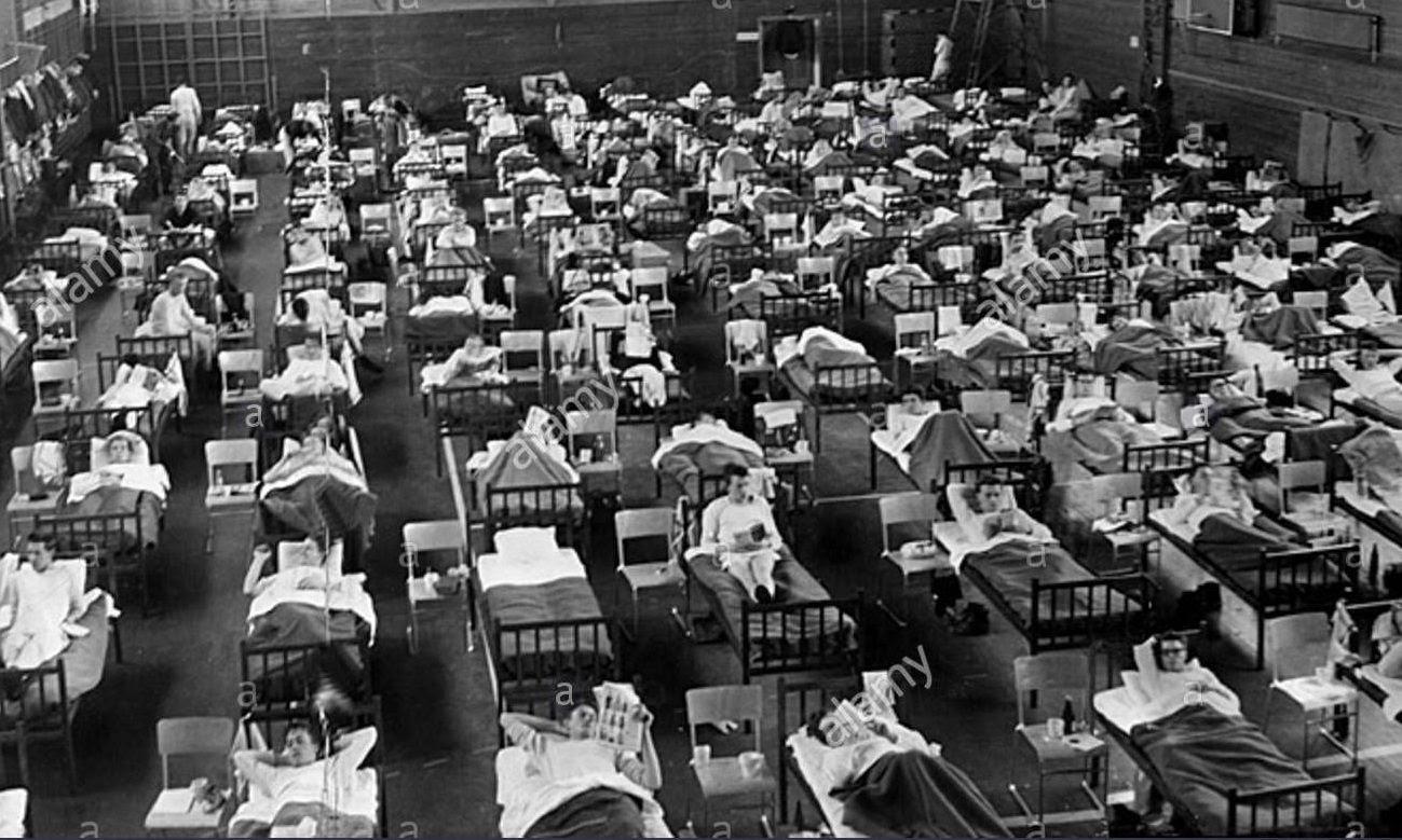 Các bệnh nhân mắc bệnh cúm châu Á tại một bênh viện ở Thuỵ Điển năm 1957.