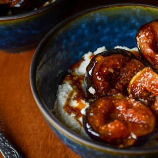 Mission Figs with Whisky Caramel and Ricotta.