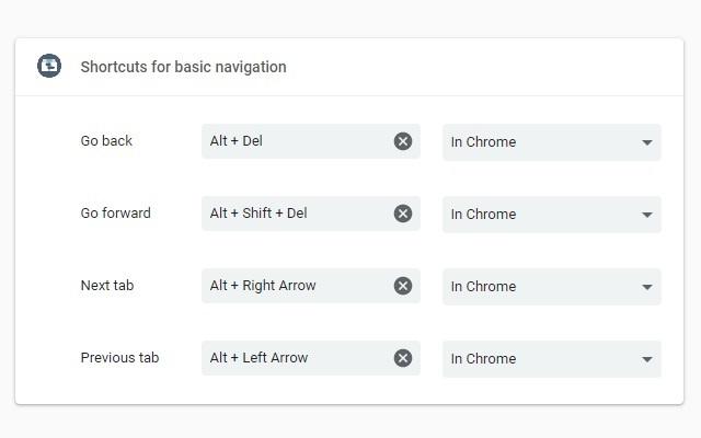Shortcuts for basic navigation