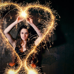 by Paige Engel - People Portraits of Women ( night, self portrait, sparklers, pwcflashes )