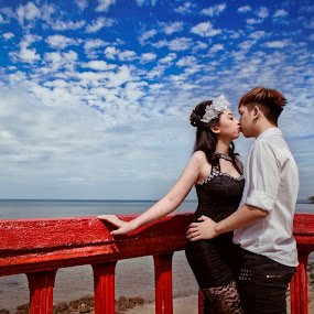 Kiss Me Under Your Love by Ken Raven - People Couples ( love, blue sky, couple, marry )