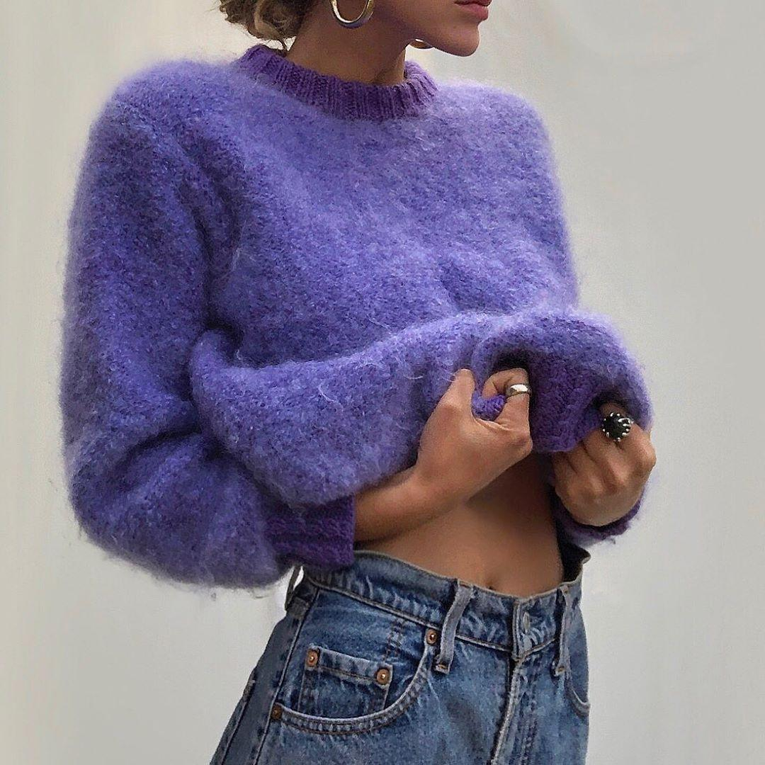 "Nine.co on Instagram: ""SOLD 90s Lilac fluffy wool knit 💜 so soft ..."