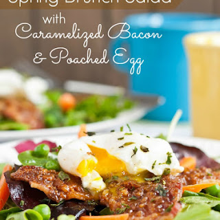 Spring Brunch Salad with Caramelized Bacon and Poached Egg