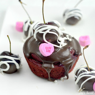 Valentine's Day Cherry Red Velvet Cupcakes