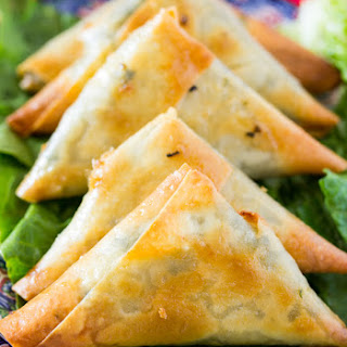Baked Spinach and Cheese Samosa.