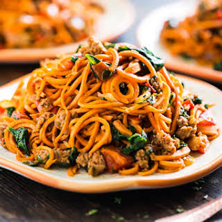 Sweet Potato Noodles with Chorizo, Roasted Red Pepper, and Spinach.