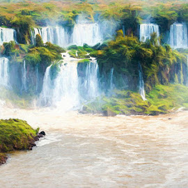 Iguassu Falss by Pravine Chester - Digital Art Places ( waterfalls, waterscape, digital art, digital painting, landscapes, manipulation )