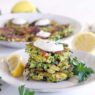 Shrimp and Zucchini Fritters with Yogurt Sauce.