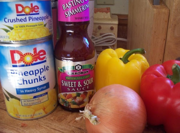 In medium sauce pan combine vinegar, brown sugar, sweet & sour sauce, soy sauce,...