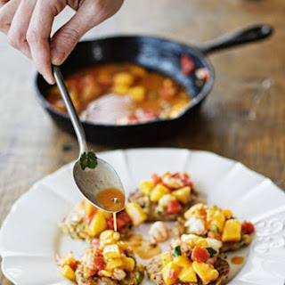 Okra Fritters with Shrimp & Peach Salsa