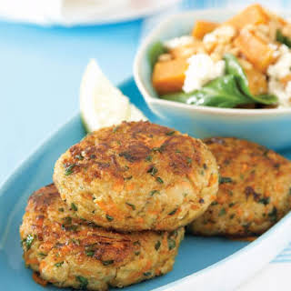 Pork and Couscous Patties with Spinach Salad.