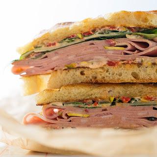 Mortadella Focaccia Sandwich.