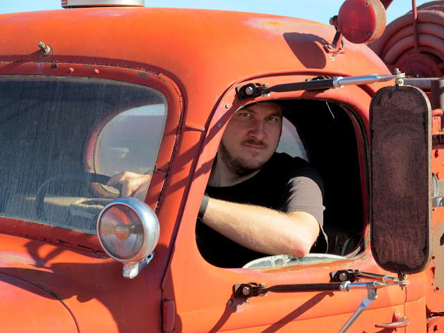 Chris in the Stovepipe Wells fire truck