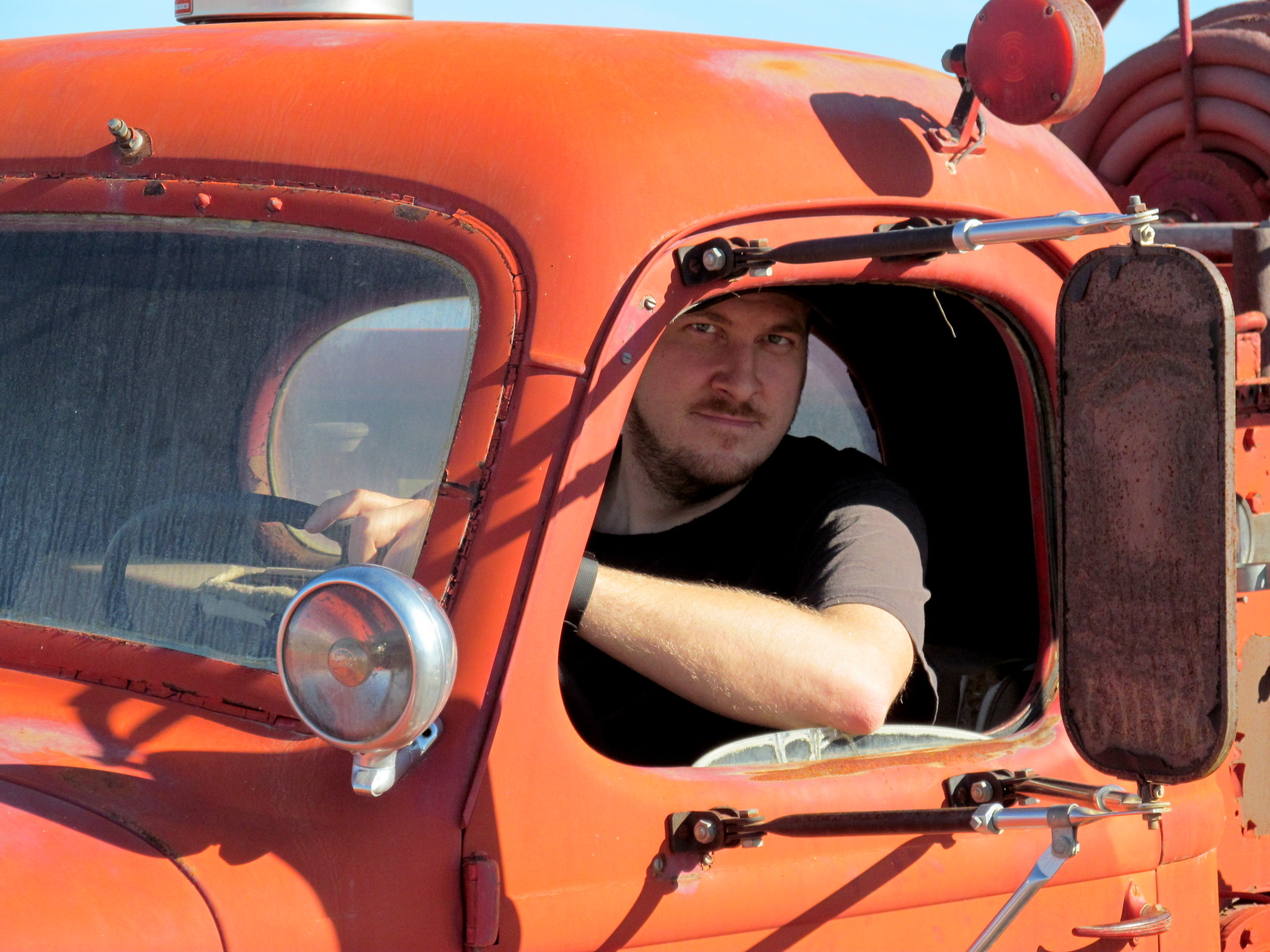 Photo: Chris in the Stovepipe Wells fire truck