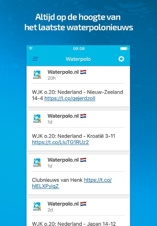 knzb waterpolo: screenshot