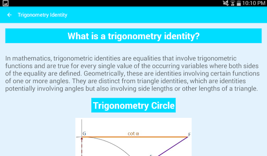 Trigonometry Identities screenshot