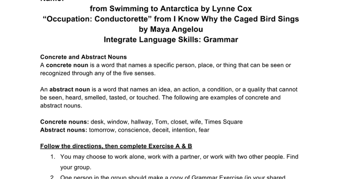 Unit 1 Grammar Abstract And Concrete Nouns Google Docs